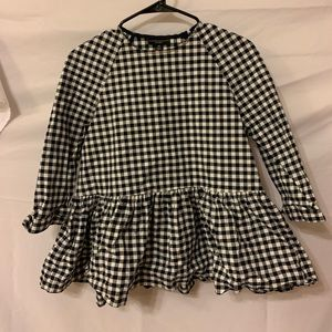 Victoria Beckham Navy Checked Peplum Blouse xs
